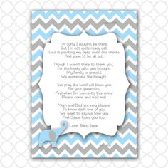 Baby Shower Thank You Poems | Elephant Baby Shower Thank You Note With Poem  / Color