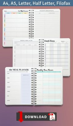 Get organized before you hit the grocery store with this Food Diary And Planner. Create your personal meal plan and be healthy. All planners are available in four sizes: A4; A5; US Letter Size; Half Letter Size. They are can use for your iPad or Android tablet. #planner #food #goodnotes #filofax #diary Family Meal Planner, Home Planner, Weekly Meal Planner, Weekly Meal Plan Template, Meal Planner Template, Printable Planner, Pre Wedding Party, Menu Planners, Unique Invitations