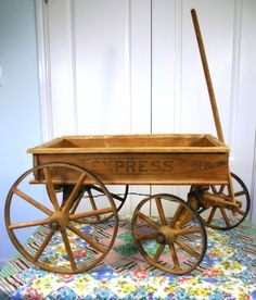 Antique 1800's Wood & Metal Child's Express Wagon