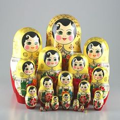 Traditional Matryoshka Doll Red Roses
