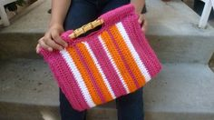 Sherbet Striped Hand Bag by AngieMade on Etsy, $36.00