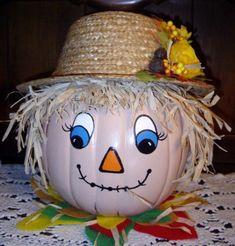 construire un épouvantail en citrouille et chapeau de paille