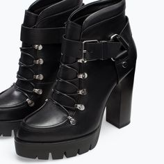Image 5 of LEATHER HIGH HEELED PLATFORM BOOTIES from Zara