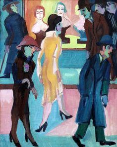 IMG_5402H Ernst Ludwig Kirchner. 1880-1938  Scène de rue avec salon de coiffure. Street scene with hairdresser salon. 1926 Dresde. Gemälde Galerie Neue Meister. Albertinum.