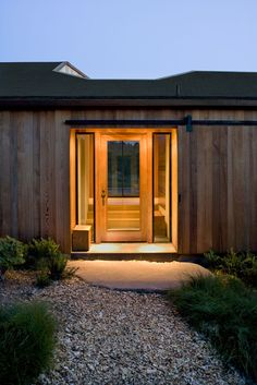 This front door is lit up to make it easy to find in the dark.