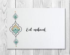 Hand Drawn Eid Mubarak Card Eid Greeting Card by SidraArtBoutique