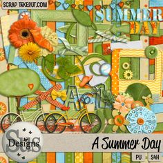 This is a bright and colorful kit perfect for almost any photo theme, especially summertime! Check it out at Scrap Take Out!
