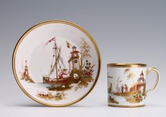Sèvres Chinoiserie hard-paste gobelet litron and saucer of the third size (1779 France) Condition Handle restuck and slight wear to gilding and enamels.