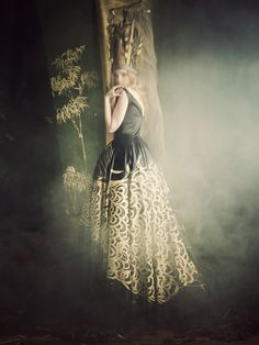 Gowns by Nonoo New York in collaboration with de Gournay as modeled by Cece Yost for Wilhelmina