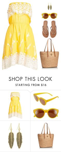 """Yellow Cotton Love"" by stacylynnwill ❤ liked on Polyvore featuring Christophe Sauvat, Zeal Optics, Jessica Simpson, Tory Burch and Aéropostale"
