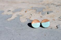 Round Bubble Earring Light Blue and Copper by WorthandBeauty