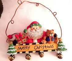 Santa Claus Merry Christmas Banner Tree Ornament Colorful Resin and Wire Wall Hanging with Jingle Bells Winter Holiday Home Decor - pinned by pin4etsy.com