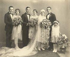 Wedding, 1928, sweet little girl with her basket of flowers