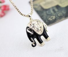 Resin Elephant Sweater Necklace - Black