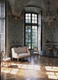 Chateau de Haroue in Lorraine, France: artist Jean Pillement painted birds, insects, animals and pagodas on chinoiserie panels in an elegant composition of pale colors.   Exotic Taste: Orientalist Interiors by Emmanuelle Gaillard, published by The Vendome Press (photo courtesy of The Vendome Press).