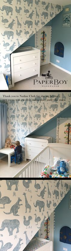 """""""He loves his new wallpaper"""" are words that are PaperBoy ears love to hear. """"I thought you might like to see Harper's new bedroom."""" Well yes you thought right Nadine Clark. We're a nosey bunch at PaperBoy. """"It makes the room look so much bigger."""" What a smashing room it is. """"Thank you so much for making such a lovely product!"""" she said. 'Thank you Nadine' for doing such a lovely job with it & for letting us all swoon at the finished room."""