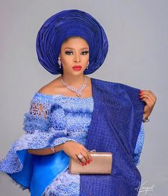 Blue has never looked this beautiful 💙💙💙💙💙 Makeup and gele Asooke Outfit tailored by African Lace Styles, African Lace Dresses, Latest African Fashion Dresses, African Dresses For Women, Nigerian Wedding Dresses Traditional, Traditional Wedding Attire, African Traditional Dresses, Lace Blouse Styles, Lace Dress Styles