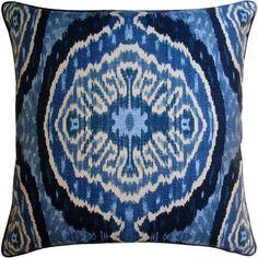 Masala Blue Linen Pillow   Tonic Home