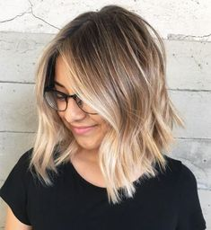 Choppy Blonde Balayage Lob – My World Blond Ombre, Ombre Hair Color, Ombre Hair Bob, Ombre On Short Hair, Short Hair Colour, Long Bob Ombre, Blonde Color, Long Choppy Bobs, Long Blonde Bobs