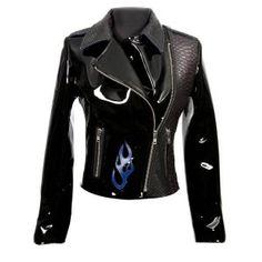 W.NRM11-C1 Black Patent Leather & Snakeskin Ladies Jacket