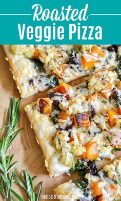 Looking for Fall Pizza Ideas? Then you have to try this amazing Roasted Fall Vegetable Pizza! This easy Roasted Vegetable Pizza Recipe is the perfect way to celebrate autumn with seasonal produce ... top this delicious Vegetarian Pizza with your favorite fall veggies, like Cauliflower, Butternut Squash, and Kale, plus Rosemary and Olives! This Roasted Veggie Pizza is a White Pizza that's packed with delicious Fall Flavors that you're going to love + it's so easy to make.   Hello Little Home Roasted Vegetable Pizza Recipe, Vegetarian Pizza Recipe, Veggie Pizza, New Recipes For Dinner, Healthy Dinner Recipes, Delicious Recipes, Tasty, Yummy Food, Roasted Fall Vegetables