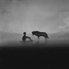 Stunning Black-And-White Watercolor Paintings Of Children Playing With Animals - DesignTAXI.com