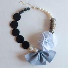 Grey Felt Fabric Flower Statement Necklace, Handmade Wool ...