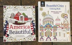 "Lot Of 2 Brand New High Quality ""America the Beautiful"", and ""Beautiful Cities""/Travel Adult Coloring Books.   1  ""America the Beautiful"" themed (seaside, porches, flowers, butterfly, cowboy hat, apple orchard, fishing, barns/farms, etc, with patriotic sayings/quotes and imagery),  American Made! Made in the U.S.A! and 1  ""Beautiful Cities"" themed (beautiful cityscapes/maps/imagery including cultural references from all around the world including Buenos Aires, Mumbai, Thailand, New York…"