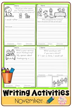 November writing activities contains 30 pages of writing worksheets. This product is suitable for kindergarten through second grade students. Kindergarten | Kindergarten Worksheets | First Grade | First Grade Worksheets | Second Grade | Informational Writing Prompts | Opinion Writing Prompts | Narrative Writing Prompts | Writing Prompts | Build a Story | Create a Story | Literacy Centers | Fall Writing Prompts | Thanksgiving First Grade Worksheets, Writing Worksheets, Kindergarten Worksheets, Writing Activities, Narrative Writing Prompts, Build A Story, Informational Writing, Literacy Centers, Second Grade