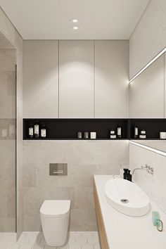 Contemporary apartment located in Moscow, Russia, designed by Geometrium DSGN. Small Bathroom Organization, Bathroom Design Small, Bathroom Interior Design, Modern Bathroom, Flat Design, Web Design, Casa Clean, Small Toilet, Toilet Design