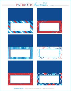 Printable place cards and labels for 4th of July.  Red white and blue