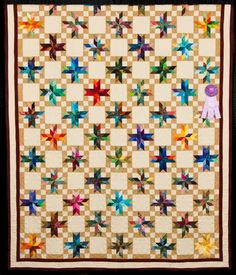 2015 Quilt Expo Quilt Contest, Honorable Mention, Category 1, Hand-quilted Bed Size-Pieced: Double Star and Then Some, Cindy Frese, Pleasant Prairie, Wisc. quiltexpo.com