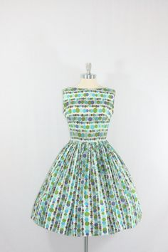Polka Dot Fashion - Cotton Summer Dress - 1950's Vintage - Blue and Green Polka Dot Cotton Full Skirt Party Frock. .... love it