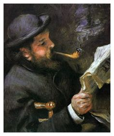 Pierre Auguste #Renior. Oil on canvas.'Claude #Monet Reading', 1872