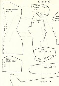 Vintage Cloth Doll Patterns: Ella's Original Doll Pattern #41: Cicely, Circa 1810 Bride Doll 3 of 3