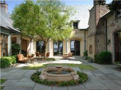 beautiful courtyard in a French Country style home in Charleston, South Carolina...like interior courtyard with hyphen by AHayesT