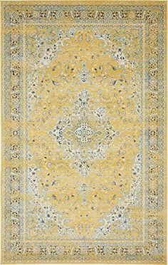 Unique Loom Tradition Collection Yellow 5 x 8 Area Rug 5 x 8 >>> Amazon most trusted e-retailer #VintageKitchenDecor