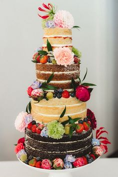 Naked Cake Layer Sponge Flowers Fruit English Country Garden Wedding Colourful Indian Party www. Indian Wedding Cakes, Country Wedding Cakes, Country Garden Weddings, Black Wedding Cakes, Wedding Cake Rustic, Indian Party, Unique Wedding Cakes, Beautiful Wedding Cakes, Wedding Cake Designs