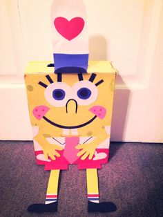Spongebob square pants Valentine Box! Super Easy!!!! Cereal box,construction paper, glue sticks and colored pencils! We hot glued qtips under the hat to get it to stand up. Loved the way it turned out!