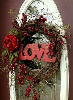Valentine Wreath Valentine Day Wreaths, Valentine Day Love, Valentines Day Decorations, Funny Valentine, Holiday Wreaths, Valentine Day Crafts, Wreath Ideas, Wreath Crafts, Diy Wreath