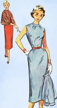 1950s Vintage Simplicity Sewing Pattern 4785 Uncut Misses Dress & Jacket Size 14