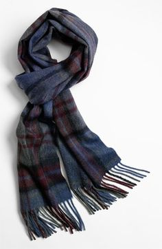 Smoky plaid patterns a supersoft cashmere scarf with classic fringed ends. | http://shop.nordstrom.com/s/john-w-nordstrom-cashmere-scarf/3294537
