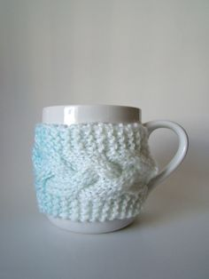 Ice Blue Ombre Knit Cup Cozy with Cable Pattern Mug by HookMadness, $12.95