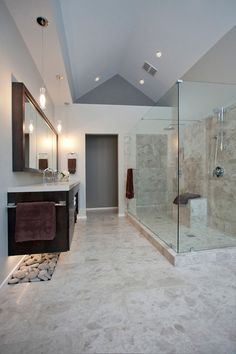 Natural materials, clean lines and a reconfigured layout bring on moments of Zen in an Ohio couple's renovated bath