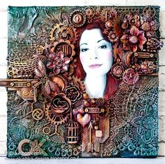LikeArtStudio by Ola Khomenok: Mixed Media canvas. Self-portrait in Finnabair style
