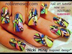 Nicki Minaj rainbow abstract geometric design: robin moses swag nail art tutorial