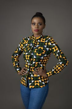 african fashion Own the room with this one of a kind African print shirt. It could be dressed up in a pencil skirt and heels for work or make it casual chic with a pair of jeans & flat African Wear Dresses, African Fashion Ankara, Latest African Fashion Dresses, African Print Fashion, Africa Fashion, African Attire, African Style Clothing, Modern African Fashion, African Dress Designs