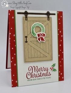 I used the Stampin' Up! Barn Door stamp set bundle from the upcoming 2018 Occasions Catalog and the Snowflake Sentiments stamp set to create my card for the Fab Friday Christmas Free for All … Merry Christmas Family, Christmas Cards 2017, Stamped Christmas Cards, Stampin Up Christmas, Xmas Cards, Christmas Minis, Christmas Items, Holiday Cards, Christmas Crafts