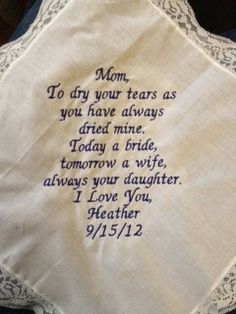 Mother of the Bride LACE SCRIPT Heirloom Personalized Wedding Handkerchief Custom Embroidered. $30.00, via Etsy.
