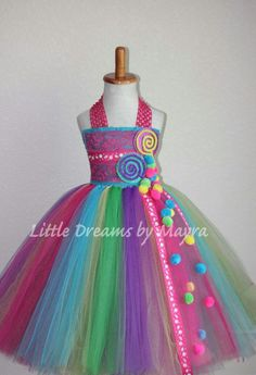 Candyland inspired tutu dress and matching hairpiece - Candy land inspired dress - lollipop inspired tutu dress size nb to Diy Tutu, Robes Tutu, Candy Costumes, Troll Party, Fete Halloween, Holidays Halloween, Candy Party, Tulle Dress, Tutu Dresses